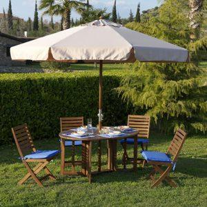 Ombrellone in legno mt. 3x3 per arredo giardino e piscina modello Island vendita online