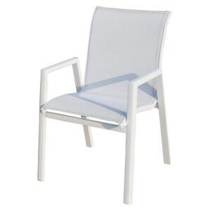 sedia in alluminio verniciato bianco