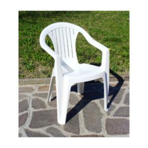 sedia in resina colore bianco