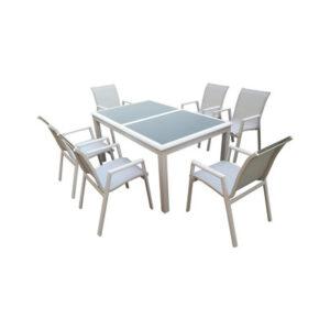 tavolo in alluminio e vetro temperato